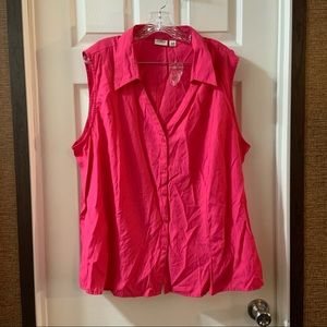 NWOT Cato Hot Pink Sleeveless Button Down Top